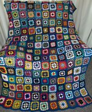 NEW HAND CROCHETED HEAVY MULTI COLOR LARGE SIZED AFGHAN BLANKET THROW 206x128cm
