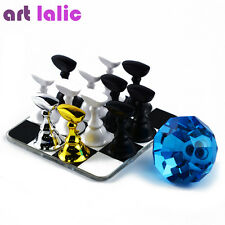 Pro 12x Chess Board Magnetic Nail Art Tip Crystal Stand Set Salon Display Holder