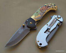 MASTER COLLECTION MULTI COLOR TIGER DESIGN SPRING ASSISTED KNIFE WITH BELT CLIP