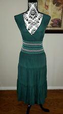 WAREHOUSE UK green smocked waist tiered skirt crinkle silk dress US 2 UK 6