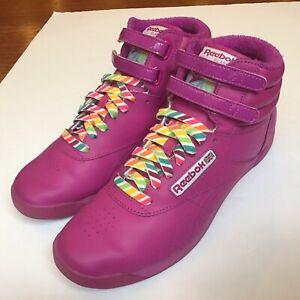 Reebok Womens Classic 30th Anniversary Freestyle High Top Shoes Purple Sz 8.5