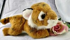 "Aurora Tiger Cub Plush Leather Tag Stuffed Animal Miyoni Laying Down 8"""