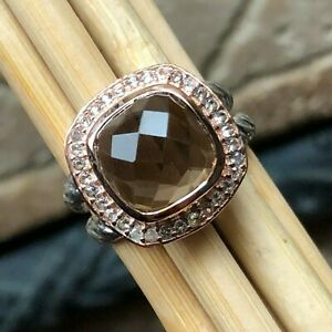 Natural 2.5ct Smoky Topaz 14k Rose Gold Over Sterling Silver Rose Cut Ring sz 6