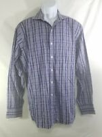 Michael Kors Mens Blue White Long Sleeve Button Down Dress Shirt Size 16 1/2