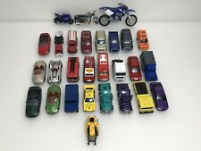 Lot of 28 Diecast & Plastic Toy Cars Trucks Motorcycles Suv Branded & Unbranded