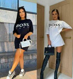 Womens Boss Lady Summer Short Sleeve Baggy Oversized Long T Shirt  Top