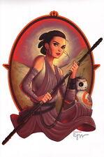 Chrissie Zullo SIGNED Star Wars Force Awakens Comic Art Print ~ Rey & BB-8
