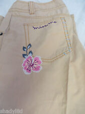 MISS ME JEANS Shorts Cotton Nylon Embroidered beaded  Crop Tan Pants