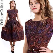 RARE Vintage 50s Rockabilly Pin Up Dress Purple Floral Bateau Full Swing XS/S