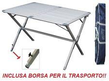 Tavolo campeggio alluminio Argo 110x70x72H piano arrotolabile e sacca trasporto