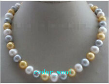 stunning AAA+9-10mm tahitian white grey gold color pearl necklace 18 inch 14K