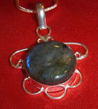 Labradorite stone pendant snake chain necklace healing jewelry awakening stone