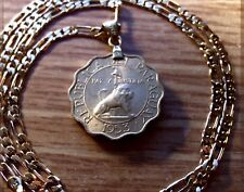 "1953 Paraguay Golden Lion & Liberty Cap Coin on an 18"" Gold Filled Link Chain"