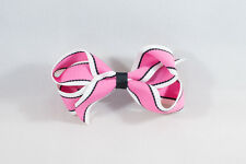 Unit of 10 Medium 3 Inch Pink/White/Black Stripe Hair Bows Clip Grosgrain