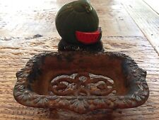 VINTAGE CAST IRON Painted red watermelon FOOTED SOAP DISH HOLDER rustic kitchen