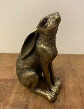 Cold Cast Bronze Reflections Moon Gazing Hare Statue Ornament Sculpture 28617