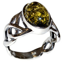 5.9g Authentic Baltic Amber 925 Sterling Silver Ring Jewelry s.6.5 N-A7484A