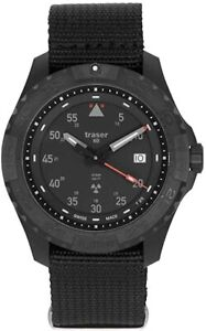 Armbanduhr Traser Analog Quarz Nylon Armband schwarz Dornschließe Saphirglas