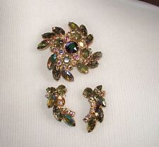 Vintage Green/AB Rhinestone Pin & Earring Set