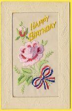 "cpa Carte BRODÉE EMBROIDERED Fleur Flower Ruban Patriotique "" HAPPY BIRTHDAY """