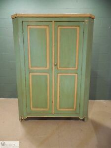 Antique Vintage Soft Wood Primitive Style Paint Decorated 2 Door Corner Cabinet