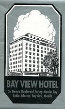 Vintage Hotel Luggage Label BAY VIEW HOTEL Manila Philippines metallic ink
