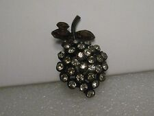 "Vintage Black Metal Clear Amber Rhinestone Fruit Brooch, 1.75"", mid-century"