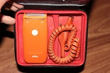 Braun Orange Plug-In Shaver Vintage Estate Find Electric Braun Razor Case M1