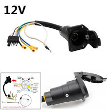 12V 4 Pin Flat to 7 Pin Round Trailer Plug Wiring Adapter Plug Black RV-Style
