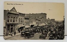 "RPPC 1914 ""Busy Day in Cherokee Iowa"" Town Street View Photo View Postcard"