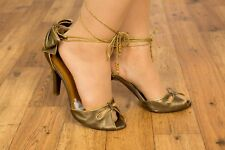 vintage style bronze & gold peeptoe tie up Miss Sixty heels size uk 8 eur 41