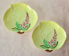 Vintage Carlton Ware FOXGLOVE 2 Yellow Leaf Dishes Plates Hand Painted England