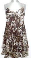 ROBERTO CAVALLI Kleid Dress braun weiß brown white Leo Gr. 12 14 16 NEU NP 426€!