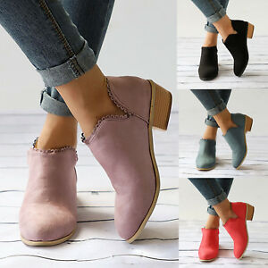 Womens Ladies Ankle Boots Mid Block Low Heels Chunky Booties Casual Shoes Size