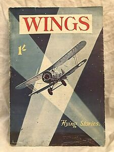 W E Johns - Wings Flying Thrills Vol 1 No 2 - Autumn 1934, Pictorial Wraps, Rare
