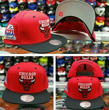 NEW NBA Mitchell and Ness Chicago Bulls RED BLACK Adjustable snapback