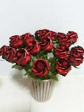 Red Ribbon Roses Artificial Flower Wedding Bride Bouquet Party Decor Handmade