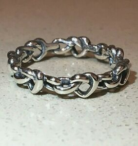 PANDORA KNOTTED HEART RING 198018, S925 ALE, STERLING SILVER, ALL SIZES