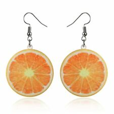 Drop Dangle Earrings Party Women Gift Jewelry 3D Orange Hip Hop Punk Stud Fruit