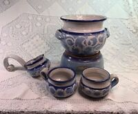 Glazed Pottery Punch Bowl Set Mulled Wine / Cider / Toddy Excellent Signed K.A