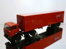 LION CAR 69 36 DAF 2100 TRUCK + TRAILER - PTT POST - RED 1:50 - GOOD CONDITION