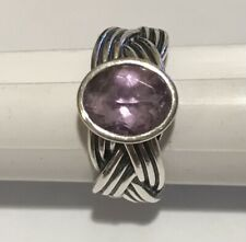 Sterling Silver Pandora Tied Together Amethyst Color Stone Ring Sz 8