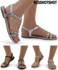 Women's Flat Heel Studded Ladies Gladiator Ankle Strap Summer Sandals Shoes Size