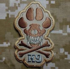 K9 & CROSSBONES KILLER ATTACK DOG ARMY MORALE ISAF DESERT HOOK PATCH