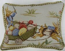 14''x18''Handmade Wool Needlepoint Easter Bunny Rabbit Cushion Cover Pillow Case