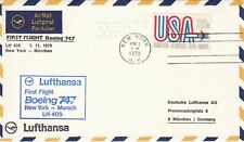 1970 Lufthansa First Flight Boeing 747  New York to Munchen  First Flight Cover
