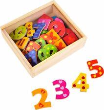 Bunte Magnetzahlen aus Holz 40 Stück Zahlen Rechnen Lernspiel für Kinder Neu