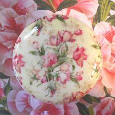 FRENCH wallpaper ceramic knob pull dresser Bedroom Bath vanity chic roses tulips