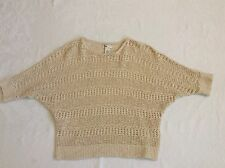 So Women's Crocheted Short Sleeve  Batwing Sleeve Sweater Tan Or Ivory Size XL