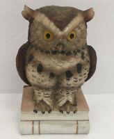 vintage bisque porcelain large horned owl book owl Andrea by Sadek Japan